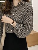 voordelige Damesblouses-Dames Patchwork Overhemd Katoen Effen Overhemdkraag Ruimvallend blauw XL