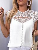 economico T-Shirt da donna-Blusa Per donna Sensuale Pizzo / Chiffon, Tinta unita Bianco L / Primavera / Estate