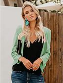 hesapli Kadın Kabanları ve Trençkotları-Kadın's Günlük Temel Normal Kaban, Solid V Yaka Uzun Kollu Polyester Siyah / Doğal Pembe / Açık Yeşil L / XL / XXL