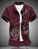 cheap Men's Shirts-Men's Plus Size Cotton Slim Shirt - Geometric Classic Collar Black XXXXL