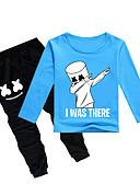 זול סטים של ביגוד לבנים-סט של בגדים כותנה שרוול ארוך דפוס פעיל / בסיסי בנים ילדים