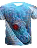 hesapli Erkek Kapşonluları ve Svetşörtleri-Erkek Pamuklu Yuvarlak Yaka Tişört Desen, 3D / Hayvan Punk ve Gotik Açık Mavi / Kısa Kollu