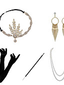 cheap Historical & Vintage Costumes-Charleston Vintage 1920s The Great Gatsby Costume Earrings Set Women's Flapper Headband Necklace Golden / Black+Golden / Red+Golden Vintage Cosplay Festival / Feather / Gloves