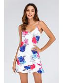 cheap Party Dresses-Women's Street chic Shift Sheath Dress - Floral Layered Ruffle Print White M L XL