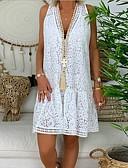 זול שמלות מקרית-צווארון V עד הברך שמלה חולצה בגדי ריקוד נשים
