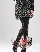 hesapli Taytlar-Kadın's Spor Legging - Solid, Dantel Orta Bel Siyah Tek Boyut / İnce