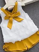 رخيصةأون مجموعات ملابس البيبي-مجموعة ملابس بدون كم لون سادة أناقة الشارع للفتيات طفل / طفل صغير