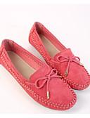 hesapli Tişört-Kadın's Ayakkabı Süet İlkbahar & Kış Mokasen & Bağcıksız Ayakkabılar Düz Taban Günlük için Mor / Fuşya / Badem