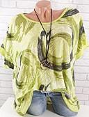 hesapli Tişört-Kadın's Pamuklu Salaş - Tişört Desen, Solid / Çiçekli Büyük Bedenler Fuşya