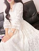 povoljno Maxi haljine-Žene Osnovni Elegantno Korice Swing kroj Haljina - Čipka, Jednobojni Midi