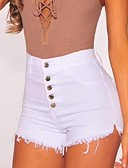 זול סרבלים ואוברולים לנשים-בגדי ריקוד נשים בסיסי שורטים מכנסיים - אחיד לבן S M L