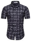 billige Herreskjorter-Herre - Blomstret / Geometrisk Bomuld, Trykt mønster EU / US størrelse Skjorte Sort XL