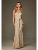 cheap Wedding Dresses-Mermaid / Trumpet Spaghetti Strap Floor Length Lace Dress with by LAN TING Express