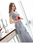 cheap Bridesmaid Dresses-A-Line Bateau Neck Floor Length Chiffon Bridesmaid Dress with Crystals by LAN TING Express