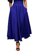 hesapli Kadın Etekleri-Kadın's Temel sofistike Maksi Salıncak Etekler - Solid Fiyonklar / Dantelli / Büzgülü Şarap Açık Gri Navy Mavi L XL XXL