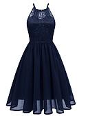 abordables Vestidos de Dama de Honor-Mujer Básico Elegante Corte Swing Vestido Un Color Hasta la Rodilla