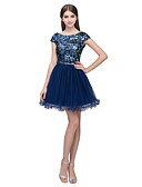 cheap Prom Dresses-A-Line Jewel Neck Short / Mini Tulle / Sequined Dress with Sequin by JUDY&JULIA
