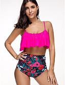 cheap One-piece swimsuits-Women's Red Navy Blue Fuchsia Tankini Swimwear - Floral L XL XXL Red