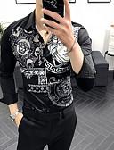 billige Herreskjorter-Herre - Geometrisk Trykt mønster Skjorte Hvid L