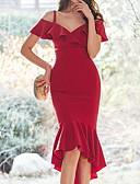 abordables Robes Femme-Femme Asymétrique Mince Gaine Robe Couleur Pleine A Bretelles Rouge S M L Sans Manches