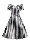 halpa Vintage-kuningatar-Naisten Tyylikäs A-linja Mekko - Geometrinen Polvipituinen