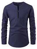 cheap Men's Shirts-Men's Shirt - Solid Colored Patchwork Button Down Collar Black