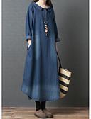 hesapli Kadın Elbiseleri-Kadın's Zarif Gömlek Elbise - Solid Maksi