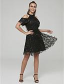preiswerte Abendkleider-A-Linie Stehkragen Kurz / Mini Tüll / Pailletten Cocktailparty Kleid mit Paillette durch TS Couture®