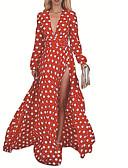 זול שמלות ערב-צווארון V מקסי שמלה סווינג רזה בגדי ריקוד נשים
