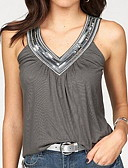 halpa T-paita-Naisten V kaula-aukko Ohut Patchwork Yhtenäinen Hihaton Purppura
