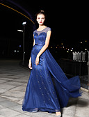 cheap Prom Dresses-Mermaid / Trumpet Jewel Neck Court Train Satin / Tulle Formal Evening Dress with Beading / Crystals by LAN TING Express