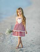 billige Pigekjoler-Baby Pige Sød / Gade Ternet Blonder / Åben ryg Uden ærmer Over knæet Bomuld / Polyester / Spandex Kjole Rød