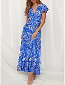 זול שמלות מקסי-צווארון V מקסי שמלה סווינג בגדי ריקוד נשים