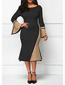 abordables Robes Imprimées-Femme Elégant Mi-long Gaine Robe Bloc de Couleur Marron Noir Jaune XXXL XXXXL XXXXXL Manches Longues