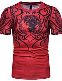 billige T-shirts og undertrøjer til herrer-Herre - Stribet Trykt mønster T-shirt Sort XL