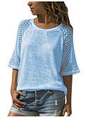 baratos Camisetas Femininas-Mulheres Camiseta Renda, Sólido