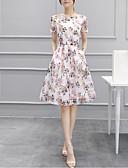 baratos Vestidos Longos-Mulheres Básico Bainha Vestido Geométrica Acima do Joelho
