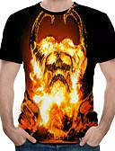 hesapli Erkek Tişörtleri ve Atletleri-Erkek Yuvarlak Yaka Tişört Desen, Zıt Renkli / 3D / Kuru Kafalar AB / ABD Beden Siyah