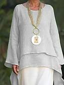povoljno Majica s rukavima-Veći konfekcijski brojevi Majica Žene Jednobojni V izrez Slim Bež