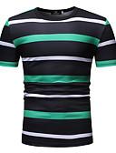 abordables Camisetas y Tops de Hombre-Hombre Estampado Camiseta, Escote Redondo A Rayas Verde Trébol XL