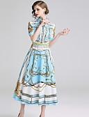 billige Kjoler med trykk-Dame A-linje Kjole - Geometrisk, Trykt mønster Midi