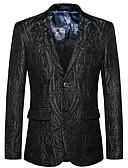 hesapli Erkek Blazerları ve Takım Elbiseleri-Erkek Blazer, Solid / Paisley Çentik Yaka Suni İpek / Polyester Siyah XXXXL / XXXXXL / XXXXXXL