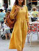 abordables Vestidos Maxi-Mujer Básico Línea A Vestido - Retazos, Un Color Midi Escote en Pico