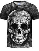 billiga T-shirts och brottarlinnen till herrar-Tryck, 3D / Dödskalle Plusstorlekar Bomull T-shirt Herr Rund hals Svart XXXXL