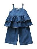 billige Badetøj til piger-Børn Baby Pige Sofistikerede Ensfarvet Uden ærmer Bomuld Spandex Tøjsæt Blå