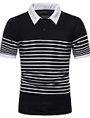 """זול חולצות פולו לגברים-פסים צווארון חולצה האיחוד האירופי / ארה""""ב גודל Polo - בגדי ריקוד גברים לבן"""