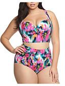 cheap Bikinis-Women's Basic Black Rainbow Bikini Swimwear - Solid Colored Geometric XXXL XXXXL XXXXXL Black