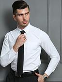 رخيصةأون قمصان رجالي-رجالي قميص نحيل لون سادة أبيض 41