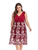cheap Dresses For Date-Women's Sophisticated Elegant A Line Shift Dress - Solid Colored Floral Lace Patchwork Black Wine XXXL XXXXL XXXXXL