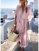 tanie Print Dresses-Damskie Podstawowy Swing Sukienka - Solidne kolory, Falbana Wiązanie Głęboki dekolt w serek Midi